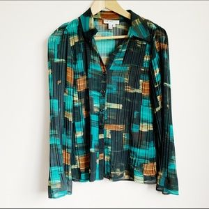 90s watercolour semi sheer crinkle texture blouse